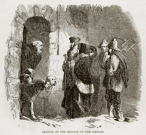 Arrival at the Hospice on the Simplon. Illustration from Swiss Pictures by Samuel Manning (Religious Tract Society, c 1870).