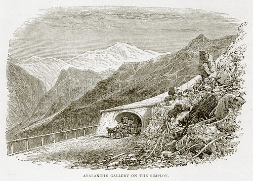 Avalanche Gallery on the Simplon. Illustration from Swiss Pictures by Samuel Manning (Religious Tract Society, c 1870).