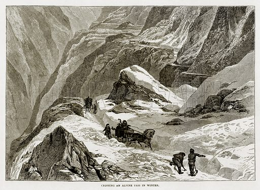 Crossing an Alpine Pass in Winter. Illustration from Swiss Pictures by Samuel Manning (Religious Tract Society, c 1870).