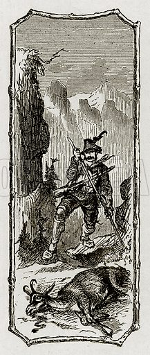 Swiss hunter. Illustration from Swiss Pictures by Samuel Manning (Religious Tract Society, c 1870).