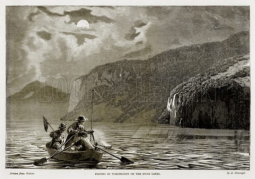 Fishing by Torchlight on the Swiss Lakes. Illustration from Swiss Pictures by Samuel Manning (Religious Tract Society, c 1870).