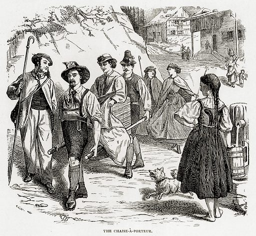 The Chaise-a-Porteur. Illustration from Swiss Pictures by Samuel Manning (Religious Tract Society, c 1870).