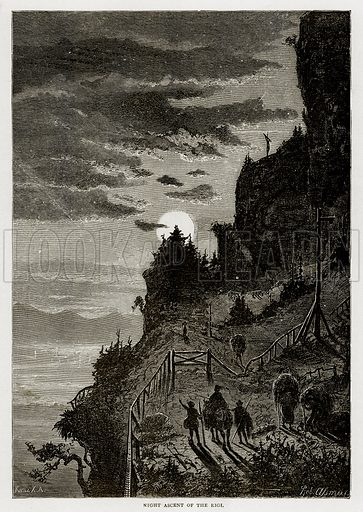 Night Ascent of the Rigi. Illustration from Swiss Pictures by Samuel Manning (Religious Tract Society, c 1870).