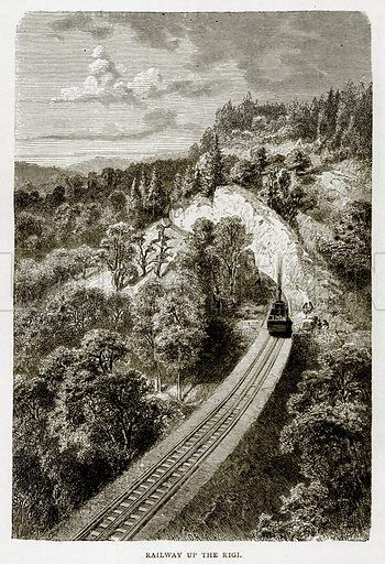 Railway up the Rigi. Illustration from Swiss Pictures by Samuel Manning (Religious Tract Society, c 1870).