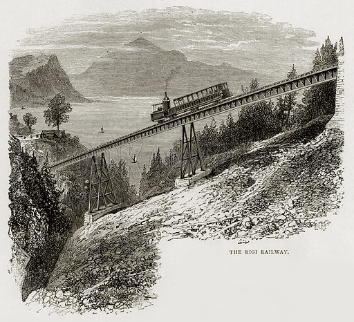 The Rigi Railway. Illustration from Swiss Pictures by Samuel Manning (Religious Tract Society, c 1870).