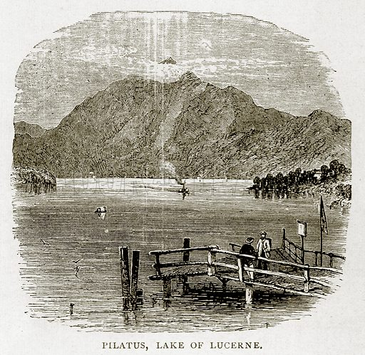 Pilatus, Lake of Lucerne. Illustration from Swiss Pictures by Samuel Manning (Religious Tract Society, c 1870).