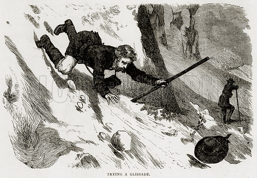 Trying a Glissade. Illustration from Swiss Pictures by Samuel Manning (Religious Tract Society, c 1870).