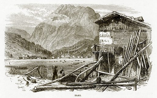 Saas. Illustration from Swiss Pictures by Samuel Manning (Religious Tract Society, c 1870).