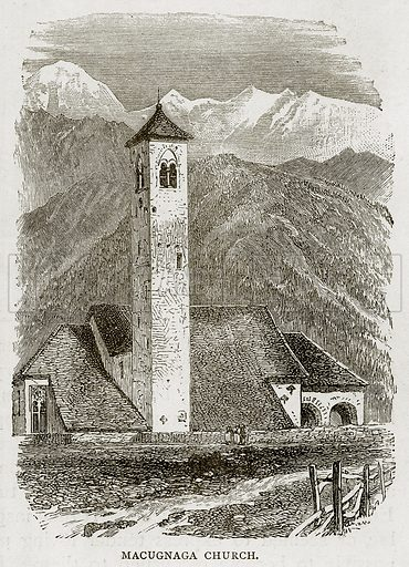 Macugnaga Church. Illustration from Swiss Pictures by Samuel Manning (Religious Tract Society, c 1870).