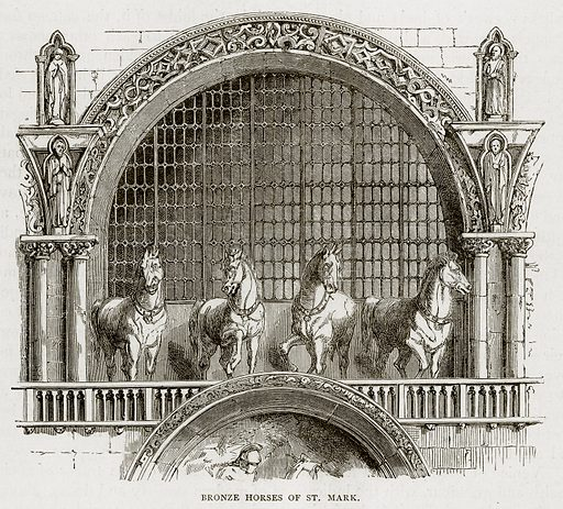 Bronze Horses of St. Mark. Illustration from Swiss Pictures by Samuel Manning (Religious Tract Society, c 1870).