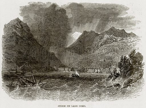 Storm on Lake Como. Illustration from Swiss Pictures by Samuel Manning (Religious Tract Society, c 1870).