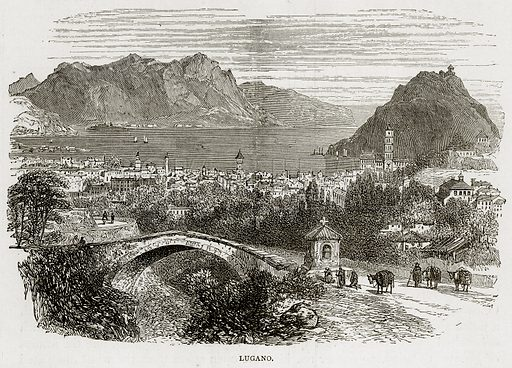 Lugano. Illustration from Swiss Pictures by Samuel Manning (Religious Tract Society, c 1870).