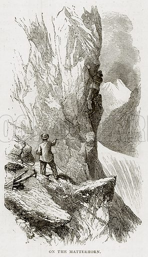 On the Matterhorn. Illustration from Swiss Pictures by Samuel Manning (Religious Tract Society, c 1870).