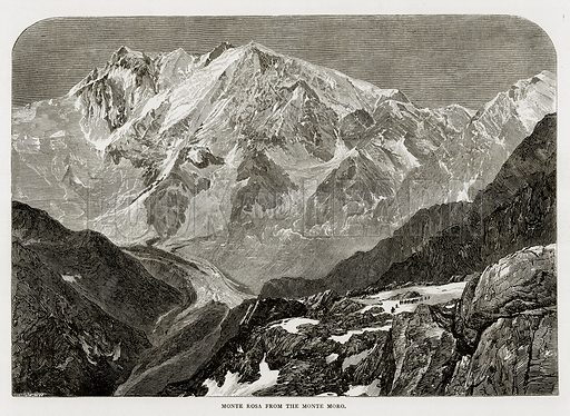 Monte Rosa from the Monte Moro. Illustration from Swiss Pictures by Samuel Manning (Religious Tract Society, c 1870).