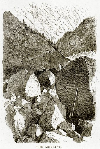 The Moraine. Illustration from Swiss Pictures by Samuel Manning (Religious Tract Society, c 1870).