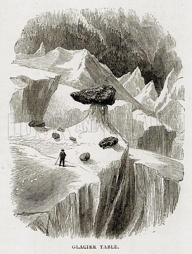 Glacier Table. Illustration from Swiss Pictures by Samuel Manning (Religious Tract Society, c 1870).