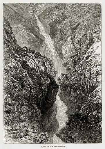 Falls of the Reichenbach. Illustration from Swiss Pictures by Samuel Manning (Religious Tract Society, c 1870).