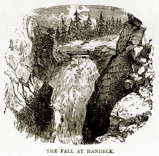 The Fall at Handeck. Illustration from Swiss Pictures by Samuel Manning (Religious Tract Society, c 1870).