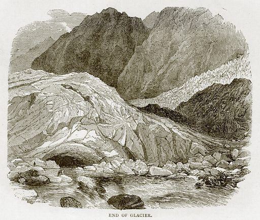 End of Glacier. Illustration from Swiss Pictures by Samuel Manning (Religious Tract Society, c 1870).