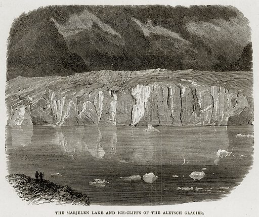The Marjelen Lake and Ice-Cliffs of the Aletsch Glacier. Illustration from Swiss Pictures by Samuel Manning (Religious Tract Society, c 1870).