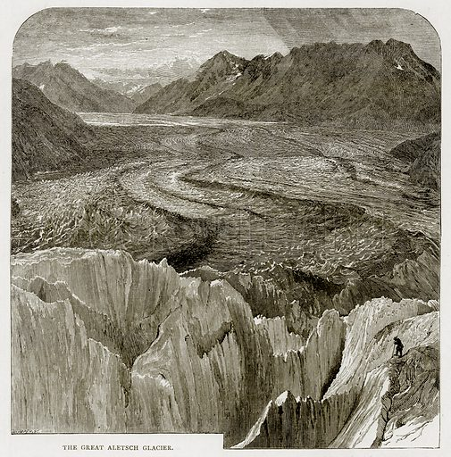 The Great Aletsch Glacier. Illustration from Swiss Pictures by Samuel Manning (Religious Tract Society, c 1870).