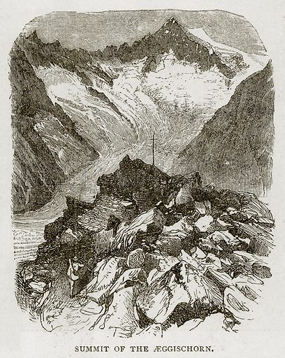 Summit of the Aeggischorn. Illustration from Swiss Pictures by Samuel Manning (Religious Tract Society, c 1870).