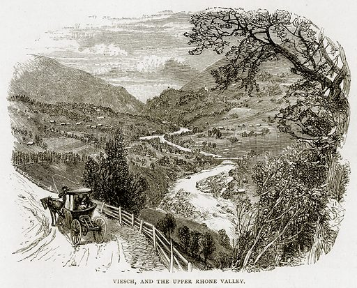 Viesch, and the upper Rhone Valley. Illustration from Swiss Pictures by Samuel Manning (Religious Tract Society, c 1870).