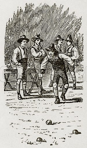 Swiss men playing bowls. Illustration from Swiss Pictures by Samuel Manning (Religious Tract Society, c 1870).