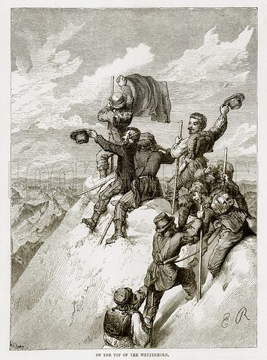 On the top of the Wetterhorn. Illustration from Swiss Pictures by Samuel Manning (Religious Tract Society, c 1870).