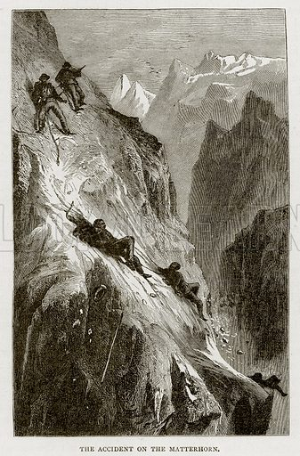 The accident on the Matterhorn. Illustration from Swiss Pictures by Samuel Manning (Religious Tract Society, c 1870).