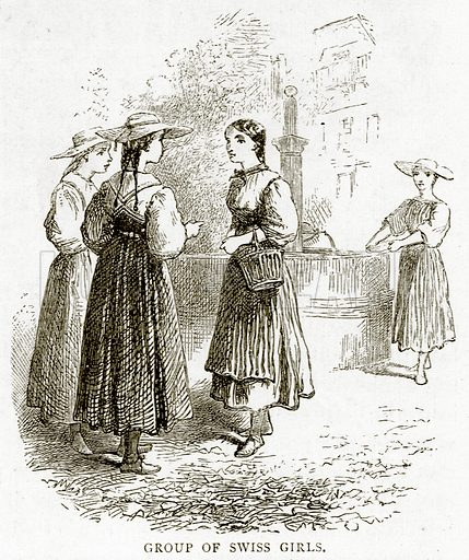 Group of Swiss Girls. Illustration from Swiss Pictures by Samuel Manning (Religious Tract Society, c 1870).