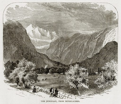 The Jungfrau, from Interlachen. Illustration from Swiss Pictures by Samuel Manning (Religious Tract Society, c 1870).