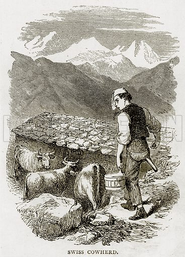 Swiss Cowherd. Illustration from Swiss Pictures by Samuel Manning (Religious Tract Society, c 1870).