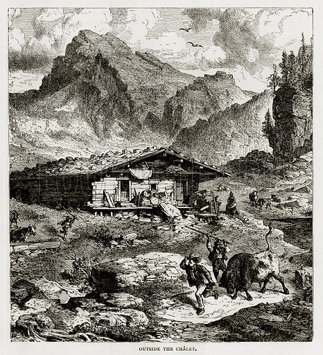 Outside the Chalet. Illustration from Swiss Pictures by Samuel Manning (Religious Tract Society, c 1870).