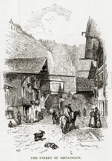 The Street of Meyringen. Illustration from Swiss Pictures by Samuel Manning (Religious Tract Society, c 1870).
