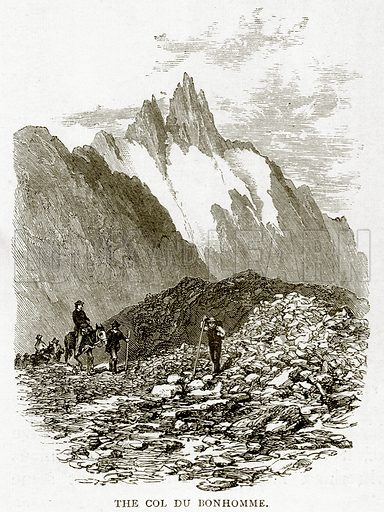 The Col du Bonhomme. Illustration from Swiss Pictures by Samuel Manning (Religious Tract Society, c 1870).