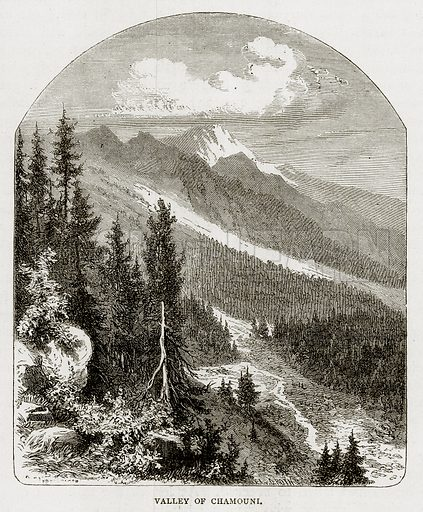 Valley of Chamouni. Illustration from Swiss Pictures by Samuel Manning (Religious Tract Society, c 1870).