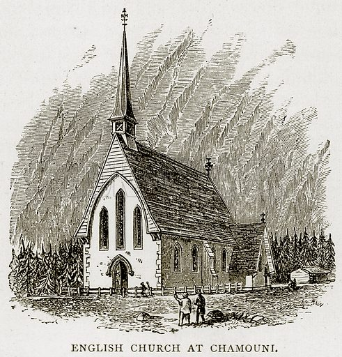 English Church at Chamouni. Illustration from Swiss Pictures by Samuel Manning (Religious Tract Society, c 1870).