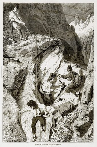 Crystal Seekers on Mont Blanc. Illustration from Swiss Pictures by Samuel Manning (Religious Tract Society, c 1870).