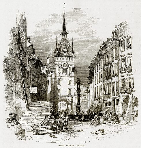 High Street, Berne. Illustration from Swiss Pictures by Samuel Manning (Religious Tract Society, c 1870).