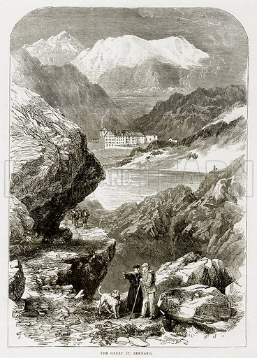 The Great St Bernard. Illustration from Swiss Pictures by Samuel Manning (Religious Tract Society, c 1870).