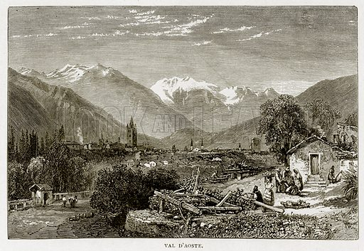 Val D'Aoste. Illustration from Swiss Pictures by Samuel Manning (Religious Tract Society, c 1870).