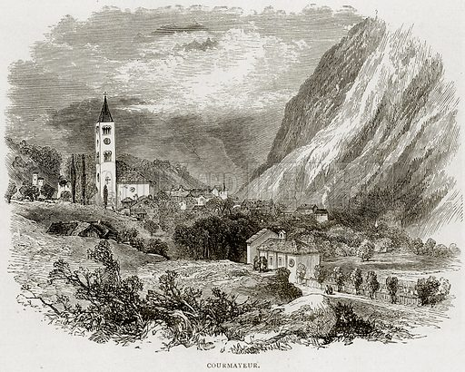 Courmayeur. Illustration from Swiss Pictures by Samuel Manning (Religious Tract Society, c 1870).
