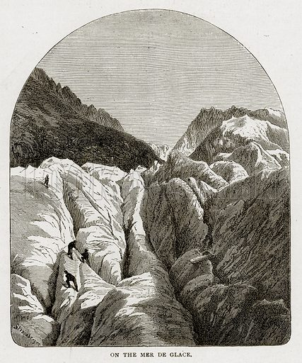 On the Mer de Glace. Illustration from Swiss Pictures by Samuel Manning (Religious Tract Society, c 1870).