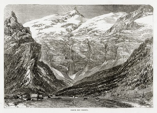 Creux des Champs. Illustration from Swiss Pictures by Samuel Manning (Religious Tract Society, c 1870).