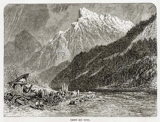 Dent du Midi. Illustration from Swiss Pictures by Samuel Manning (Religious Tract Society, c 1870).