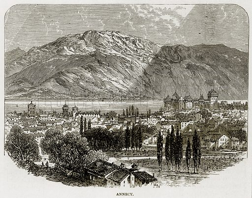 Annecy. Illustration from Swiss Pictures by Samuel Manning (Religious Tract Society, c 1870).