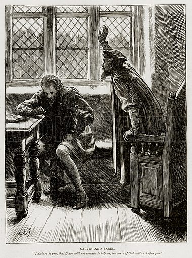 Calvin and Farel. Illustration from Swiss Pictures by Samuel Manning (Religious Tract Society, c 1870).