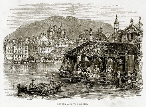Geneva and the Rhone. Illustration from Swiss Pictures by Samuel Manning (Religious Tract Society, c 1870).