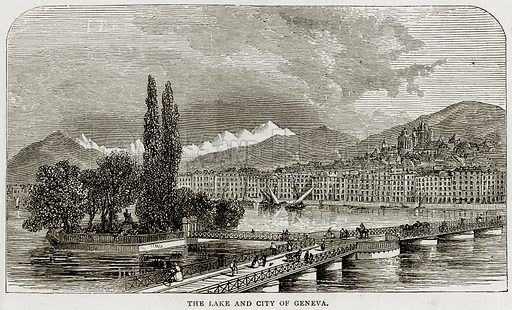 The Lake and City of Geneva. Illustration from Swiss Pictures by Samuel Manning (Religious Tract Society, c 1870).